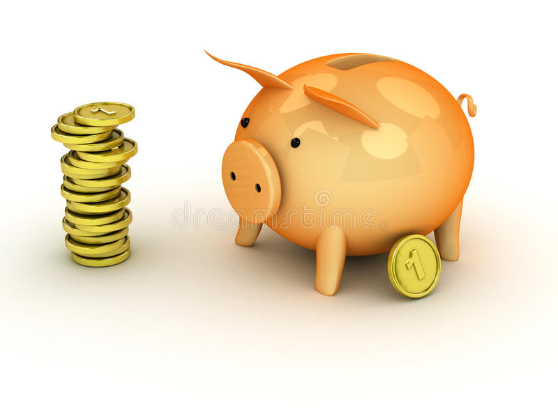 банк 3d piggy иллюстрация вектора