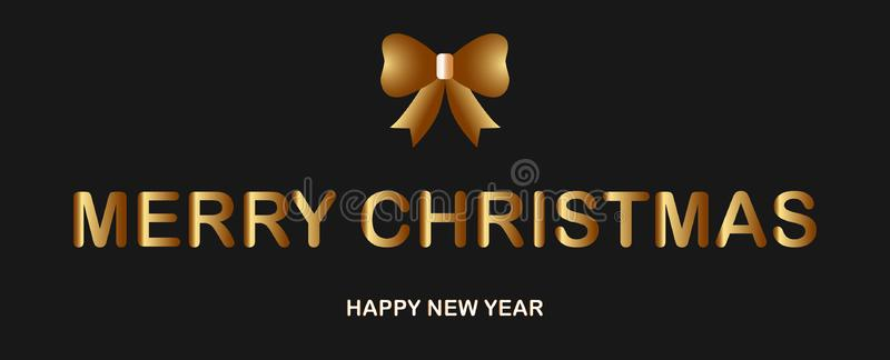 Christmas banner with golden ribbon, luxury gold and white text. Vector illutration on elegant black background. vector illustration