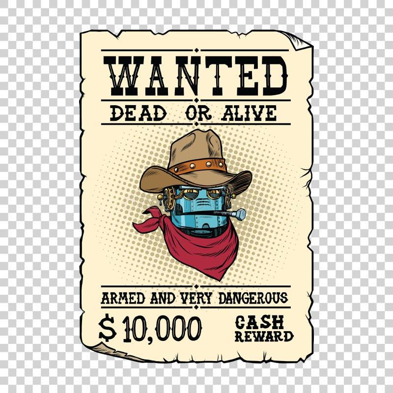 Бандит Диких Западов ковбоя робота Steampunk живой или мертвый иллюстрация вектора
