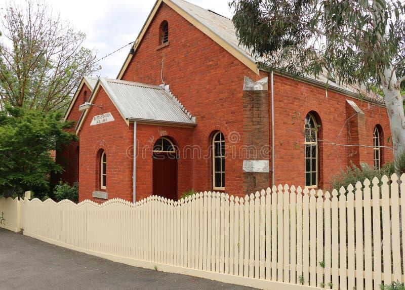 Баптистская церковь Welsh Maldon (1865) в улице Фрэнсиса двинула от своего weatherboard домой в улице Harker в 1859 стоковое фото