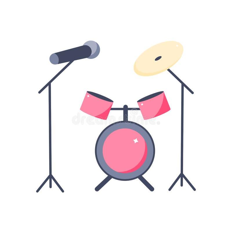 Барабанчик и микрофон в стиле мультфильма бесплатная иллюстрация