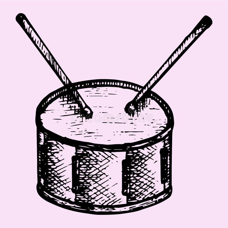 Барабанчик и ручки барабанчика иллюстрация вектора