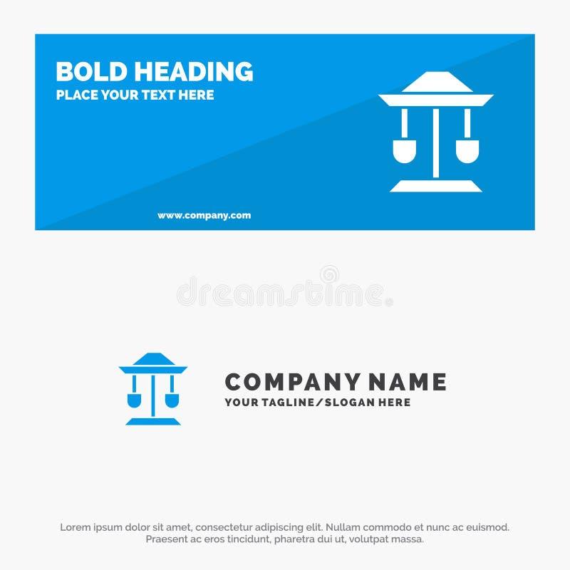 Барабанчик, колодец, закон, знамя вебсайта значка баланса твердые и шаблон логотипа дела иллюстрация штока