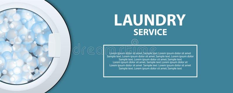 Барабанчик стиральной машины с пузырями мыла Плакат или знамя прачечной реалистическая иллюстрация 3d Вид спереди, конец-вверх, з иллюстрация вектора