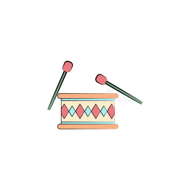 барабанчик с палочками покрасил значок Элемент покрашенного значка цирка для передвижных apps концепции и сети Барабанчик цвета с иллюстрация штока