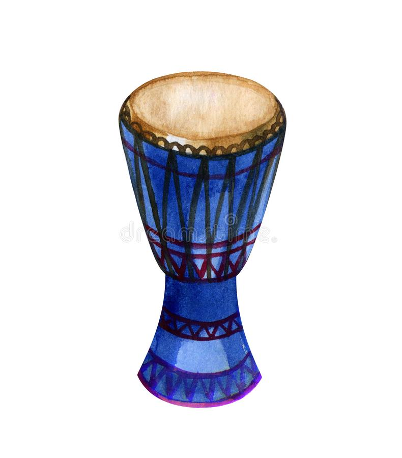 Барабанчик djembe акварели первоначальный африканский на белой предпосылке бесплатная иллюстрация