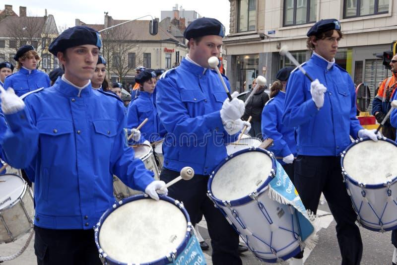 Барабанщики маршируя, Бельгия стоковые фотографии rf