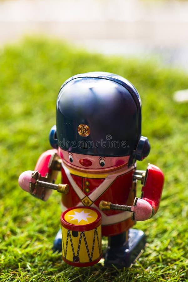 Барабанщик игрушки старого олова классический стоковые изображения rf