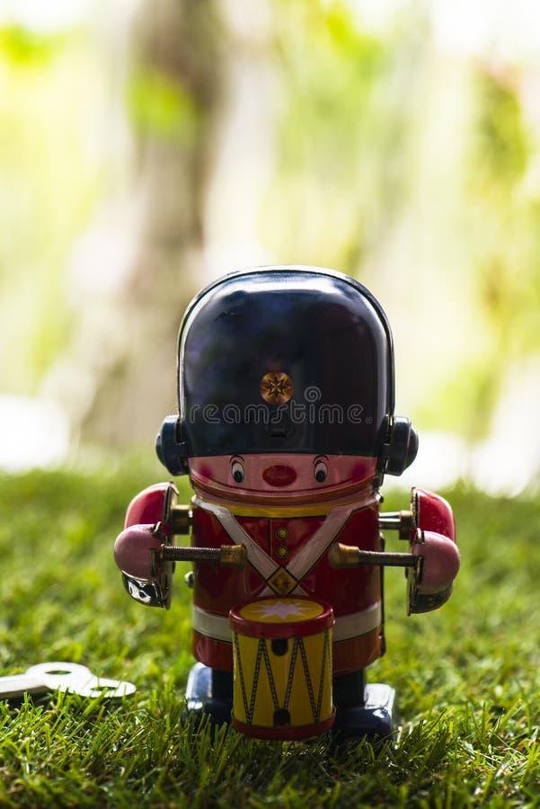 Барабанщик игрушки старого олова классический стоковое фото rf