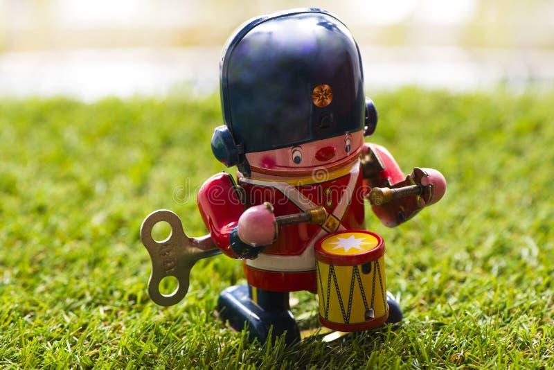 Барабанщик игрушки старого олова классический стоковое фото