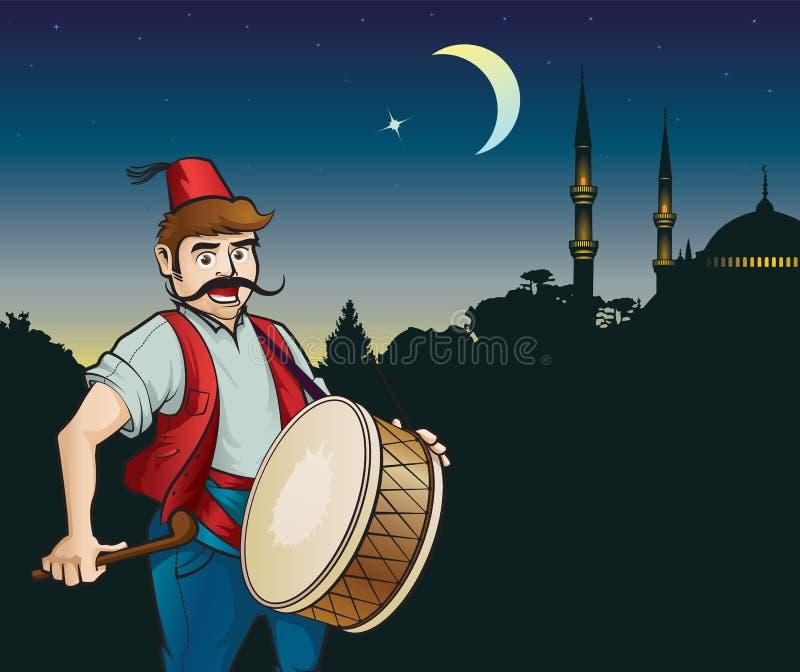 Барабанщик и мечеть Рамазана иллюстрация вектора