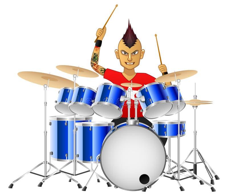 Барабанщик музыканта утеса известно играет барабанчики иллюстрация штока