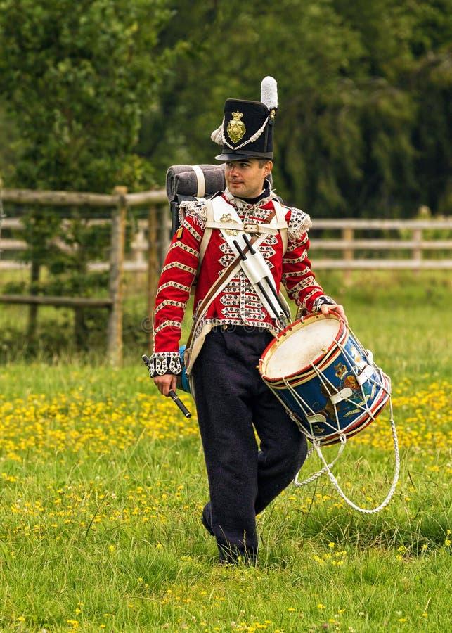 Барабанщик 1-ой ноги защищает полка, наполеоновских войн стоковые фото