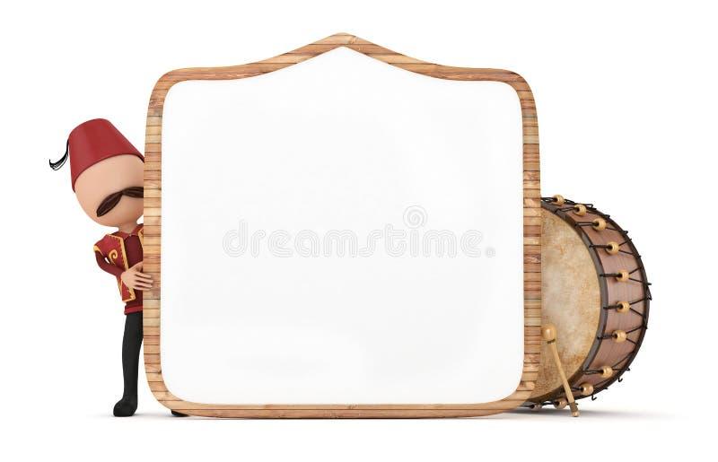 Барабанщик с деревянной рамкой бесплатная иллюстрация