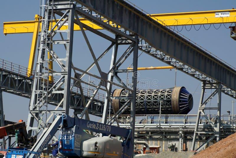 Барабаньте быть помещенным в шахте диаманта премьер-министра в Cullinan, Южной Африке стоковое фото