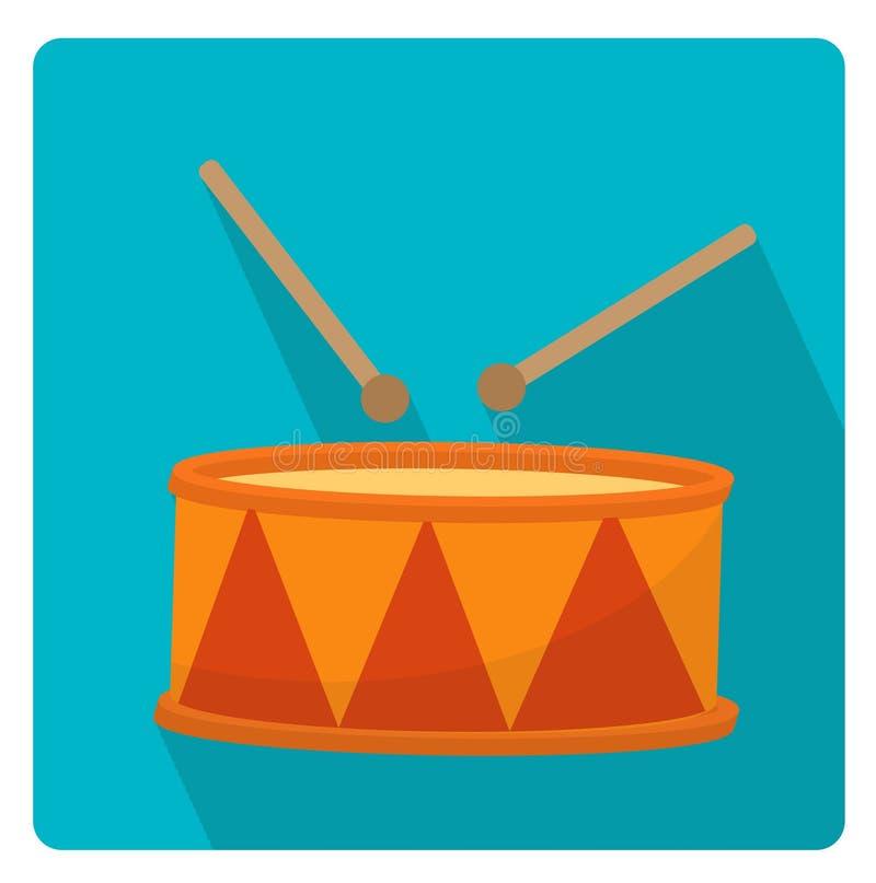 Барабаньте стилем значка музыкального инструмента плоским с длинными тенями, на белой предпосылке также вектор иллюстрации притяж иллюстрация штока