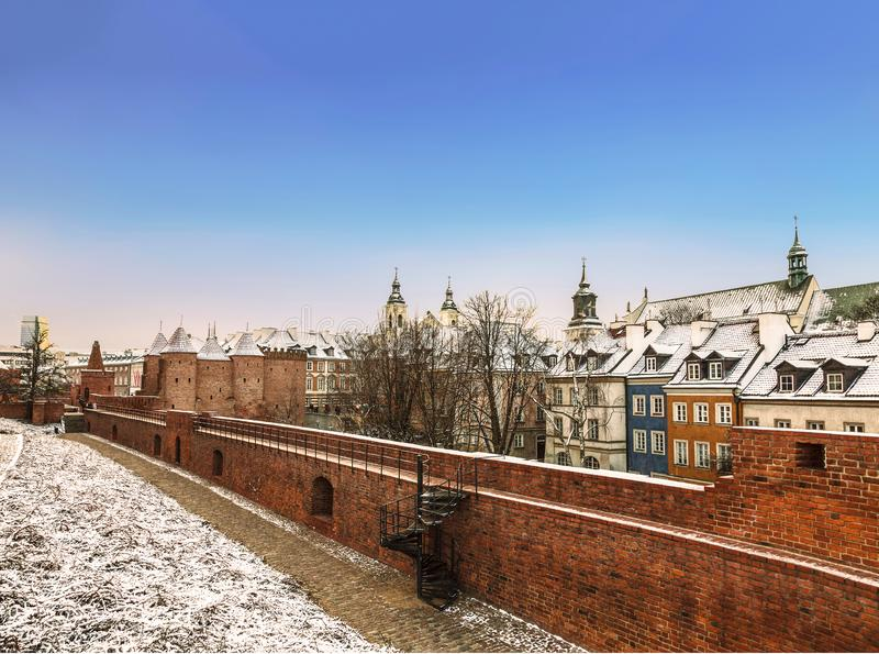 Барбакан Варшавы в столице Польши стоковые фотографии rf