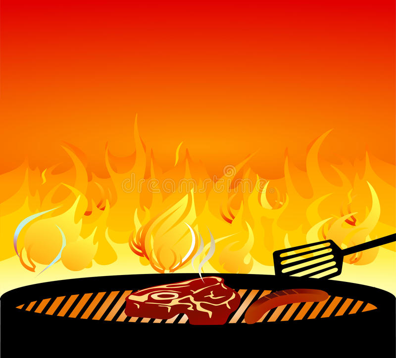 барбекю варя мясо иллюстрация вектора