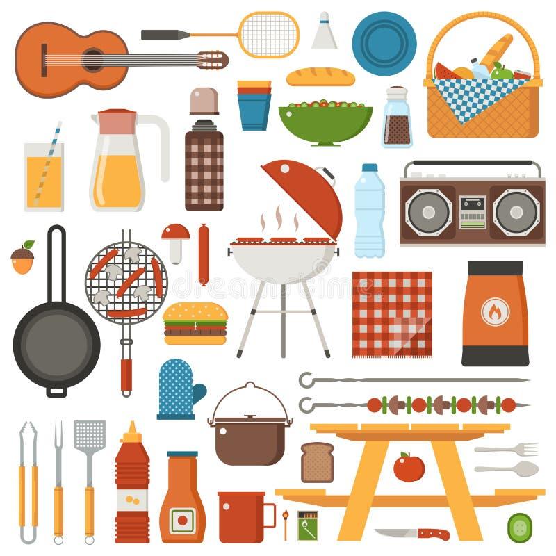 Барбекю и комплект пикника бесплатная иллюстрация