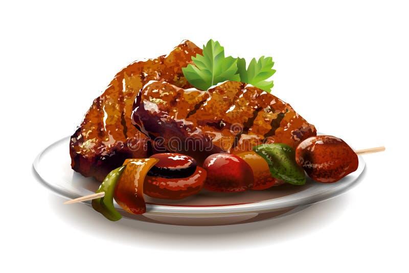 Барбекю Мясо с овощами иллюстрация вектора