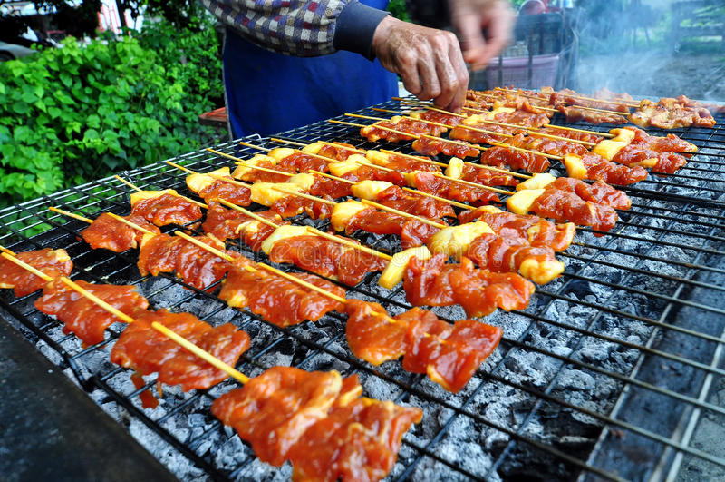 Барбекю свинины гриля стоковая фотография