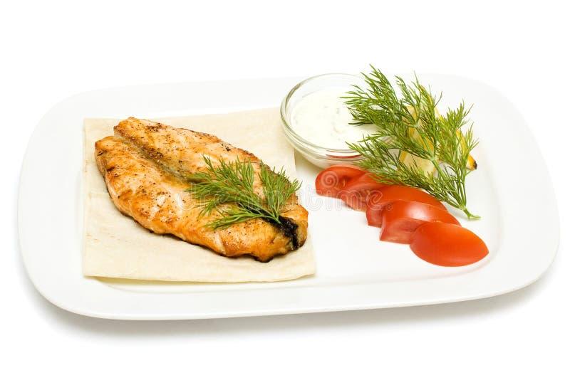 Барбекю стейка рыб стоковое изображение rf