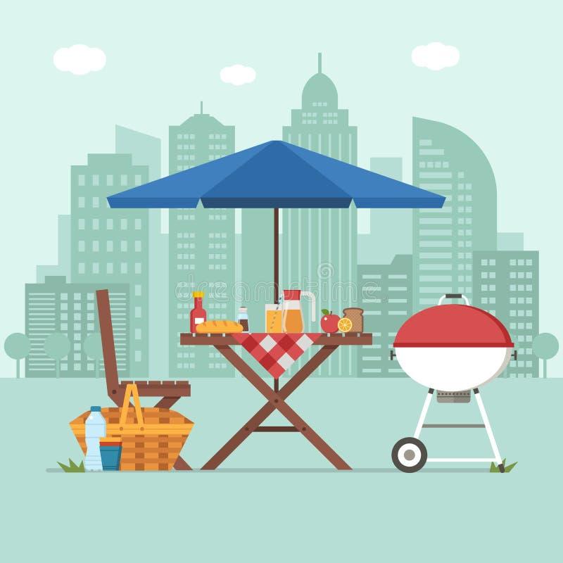 Барбекю с столом для пикника на предпосылке города иллюстрация вектора
