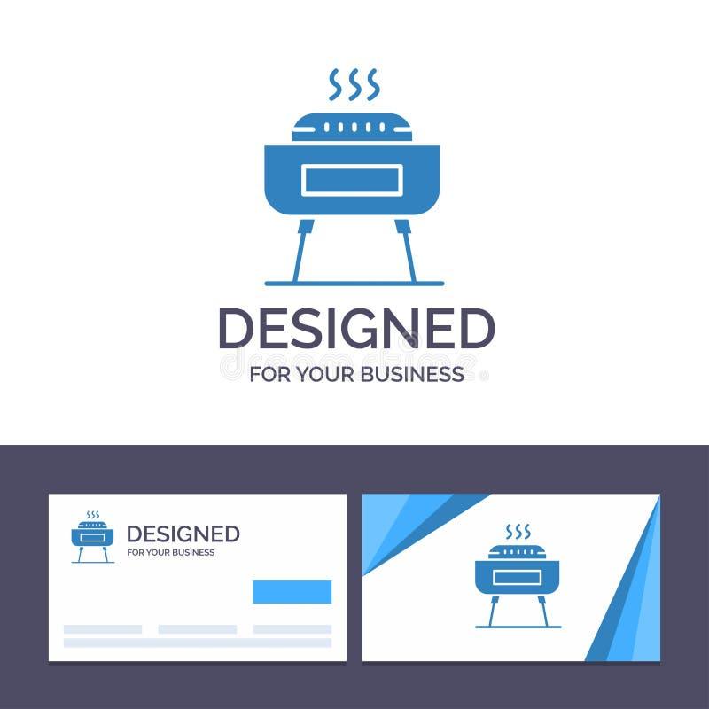 Барбекю творческого шаблона визитной карточки и логотипа, торжество, праздненство, иллюстрация вектора праздника иллюстрация штока