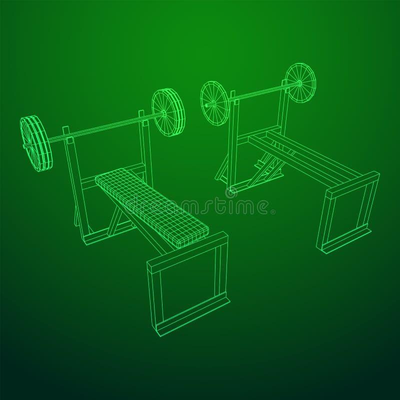 Барбелл с весами Оборудование гимна бесплатная иллюстрация