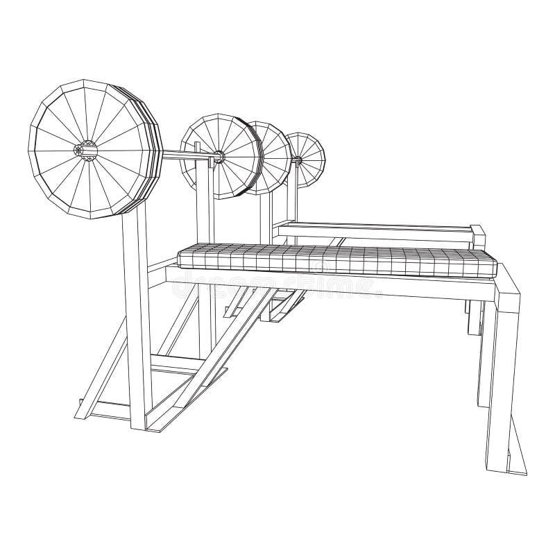 Барбелл с весами Оборудование гимна иллюстрация штока