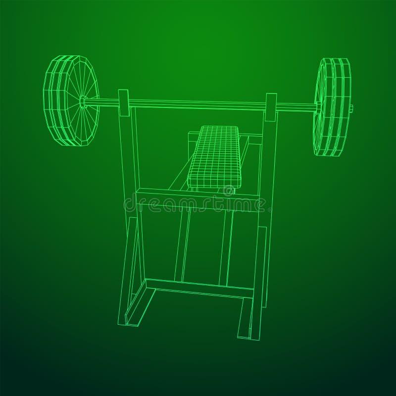 Барбелл с весами Оборудование гимна иллюстрация вектора