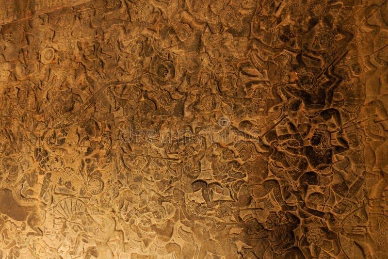 Барельеф сражения в Angkor Wat стоковая фотография