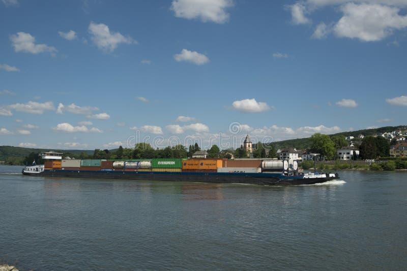 Баржа контейнера Рейна стоковое фото rf