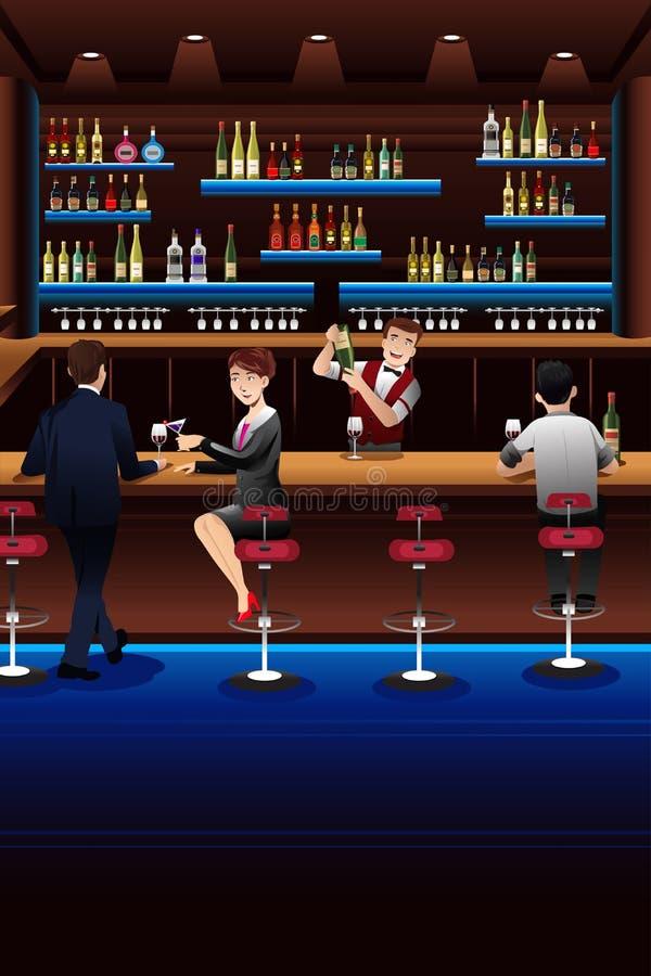 Download Бармен работая в баре иллюстрация вектора. иллюстрации насчитывающей салон - 41653747