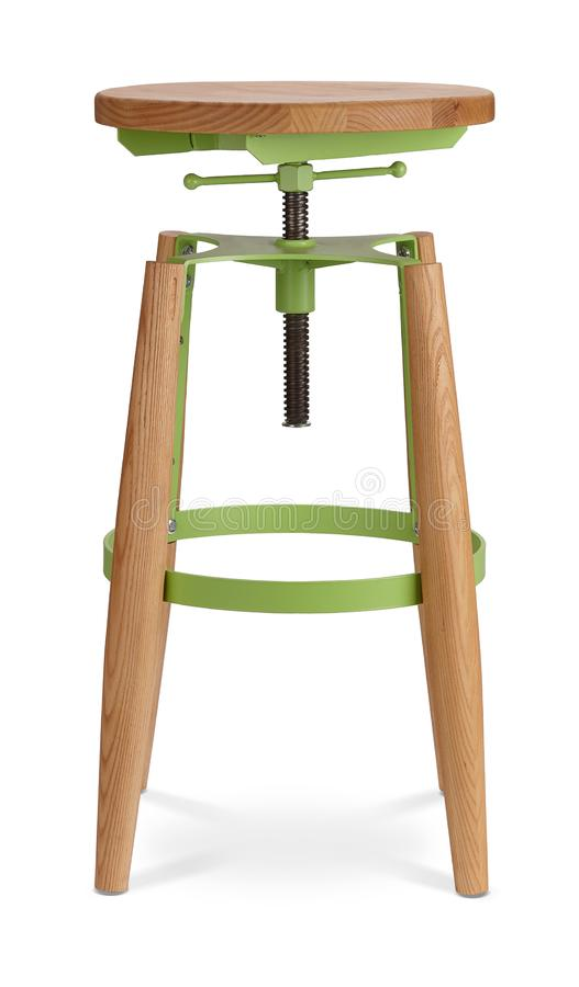 Барный стул зеленого цвета высокий закручивая, стул, древесина, стул металла, современный дизайнер Стул изолированный на белой пр стоковые фотографии rf