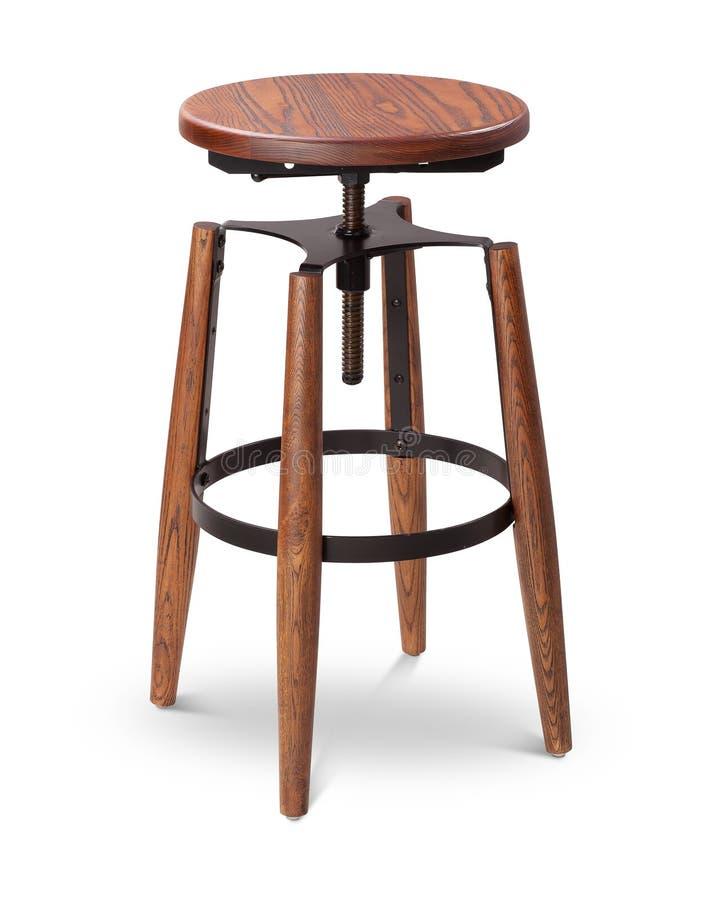 Барный стул цвета кабанины высокий закручивая, стул, древесина, стул металла, современный дизайнер Стул изолированный на белой пр стоковая фотография
