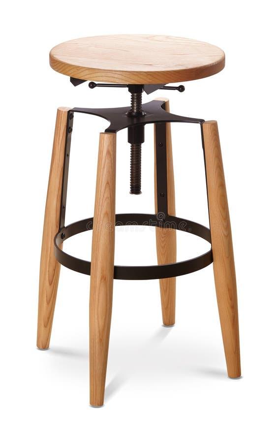 Барный стул черного цвета высокий закручивая, стул, древесина, стул металла, современный дизайнер Стул изолированный на белой пре стоковые изображения rf