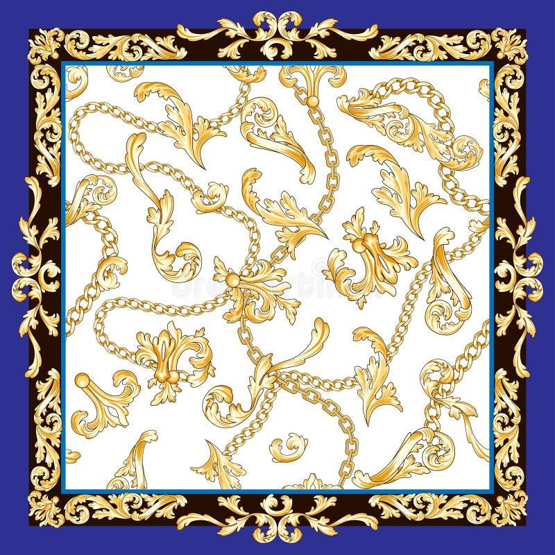 Барокк шарфа золотое иллюстрация штока