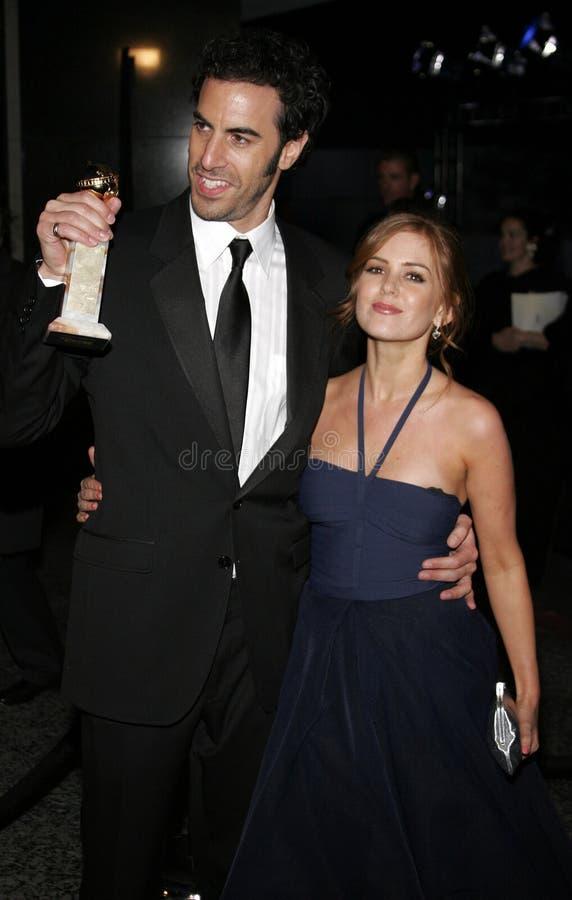 Барон Cohen и Isla Fisher Sacha стоковое изображение
