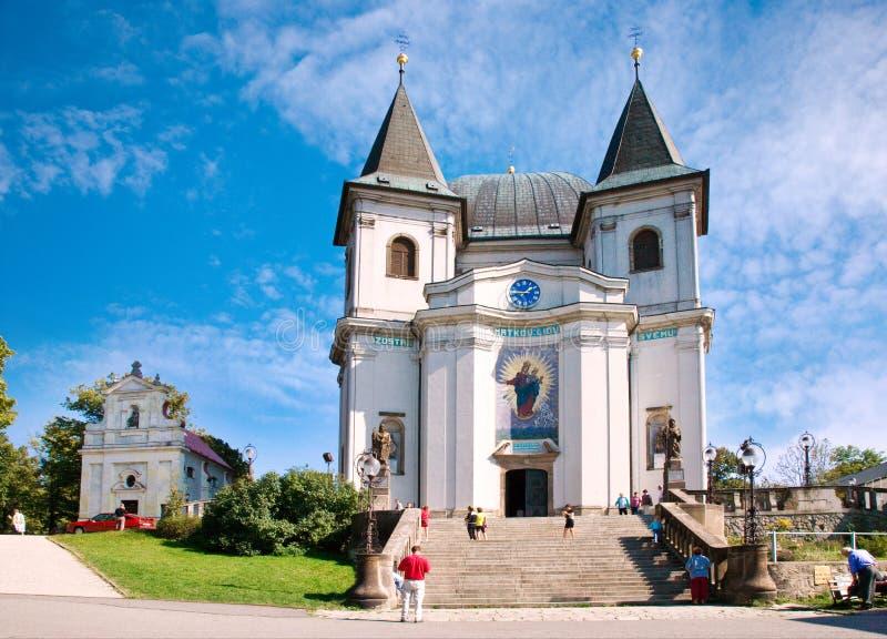 Барочная базилика предположения девой марии, Hostyn около стручка Hostynem Bystrice, чехии Место Мэриан Iimportant p стоковая фотография rf