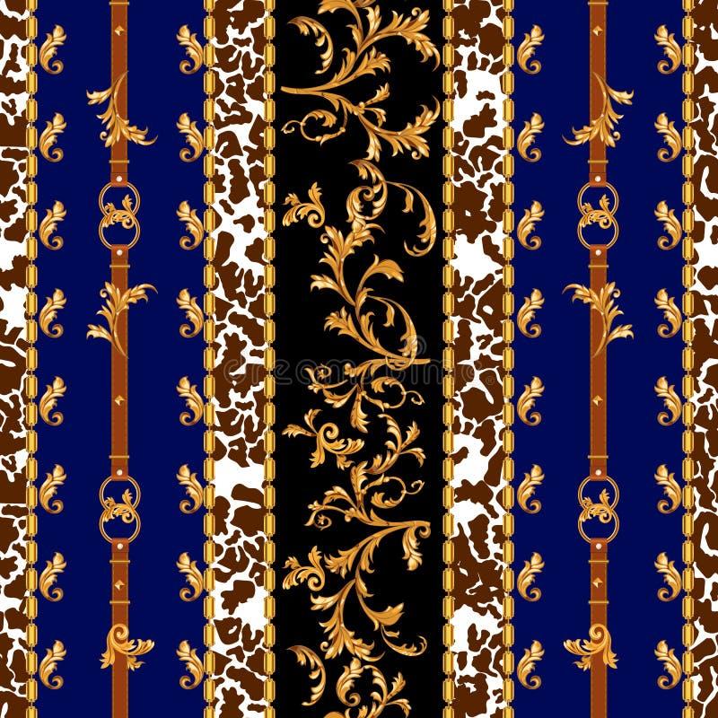 Барочная безшовная картина с золотыми поясами, листьями и цепями Striped заплата для шарфов, печать, ткань иллюстрация вектора