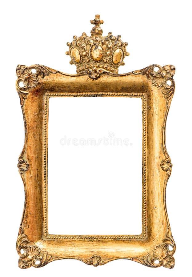 Барочная золотая картинная рамка изолированная на белизне стоковое фото rf