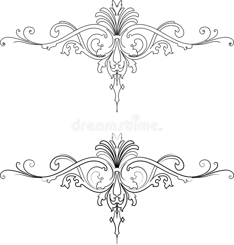 барочная каллиграфия вводит традиционные 2 в моду иллюстрация вектора