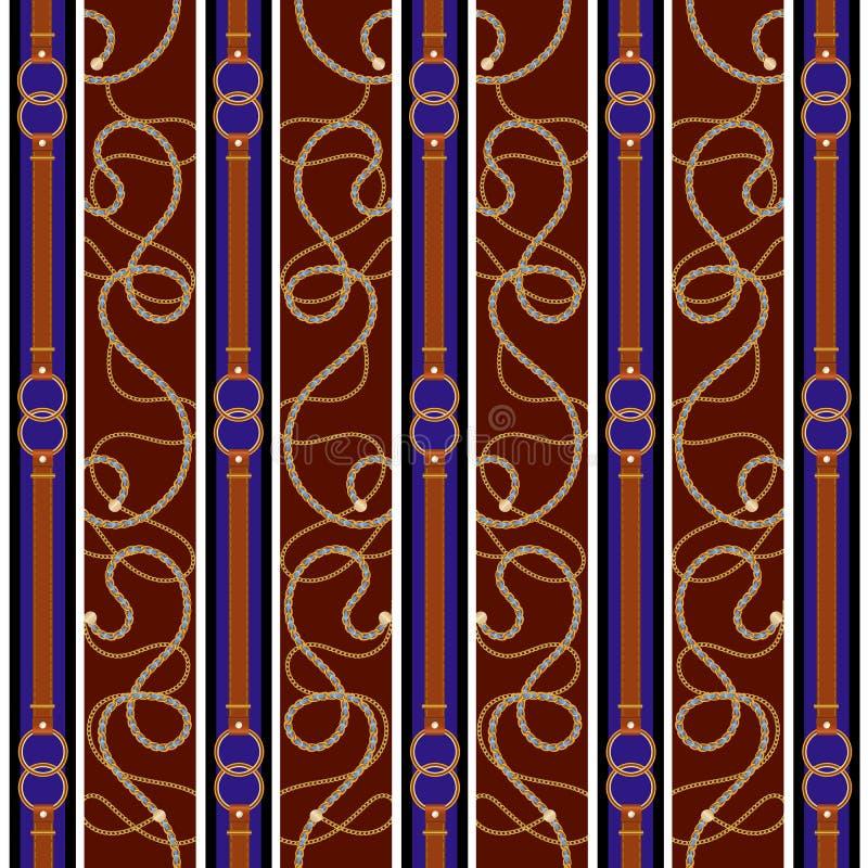 Барочная картина с цепями, поясами и нашивками золота Барочная заплата для шарфа, печати, дизайна ткани иллюстрация вектора