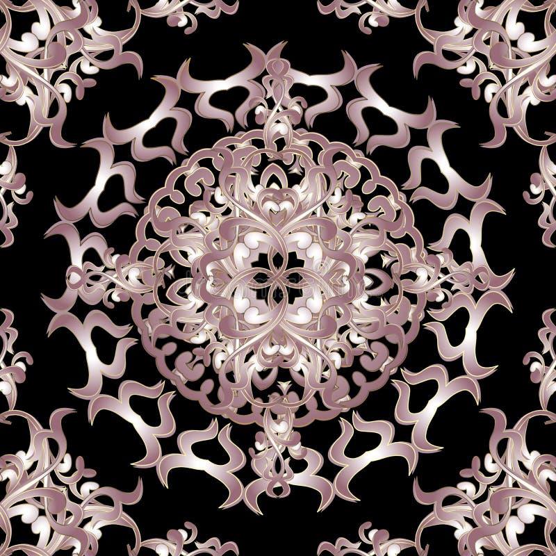 Барочная орнаментальная флористическая безшовная картина мандалы вектора Предпосылка винтажной элегантности черная Поверхностная  иллюстрация штока