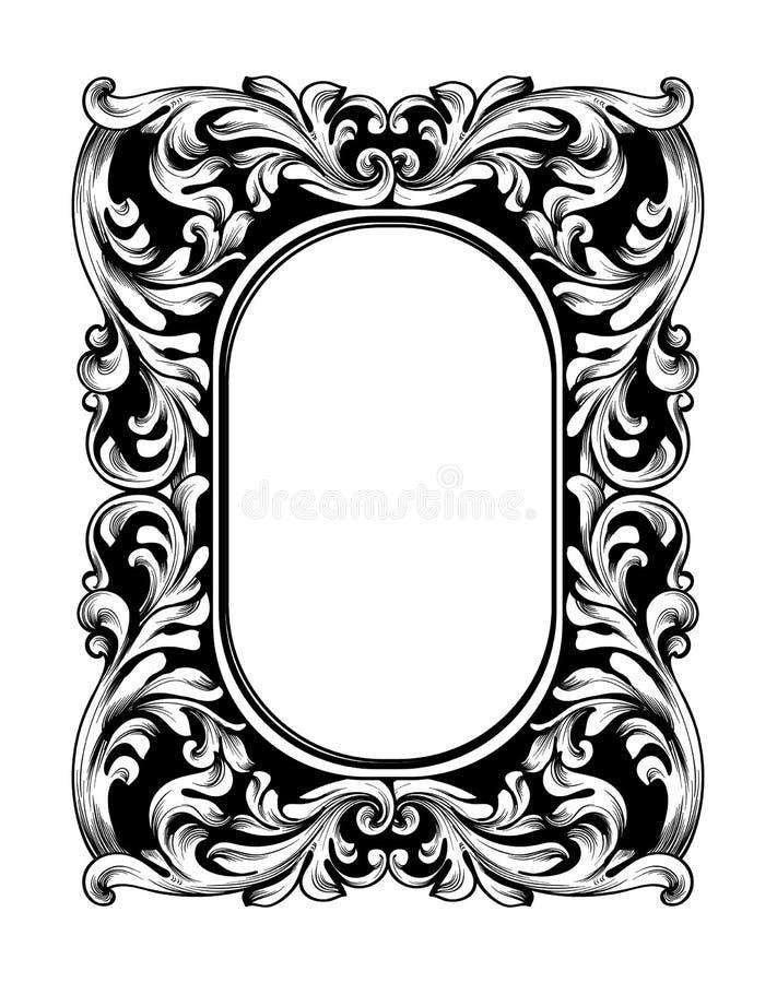 Барочная рамка зеркала Элементы дизайна оформления вектора имперские Линия encarved богачами орнаментов искусства бесплатная иллюстрация