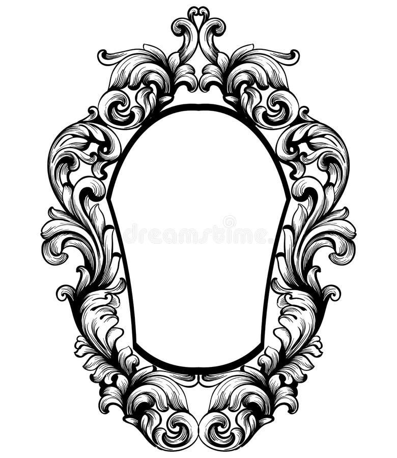 Барочная рамка зеркала Элементы дизайна оформления вектора имперские Линия encarved богачами орнаментов искусства иллюстрация вектора