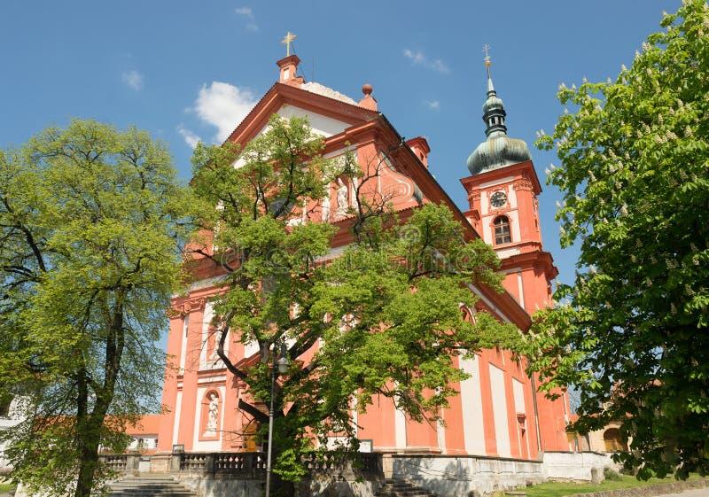 Барочная церковь St Mary, Stara Boleslav, чехия Svata Мари стоковые фотографии rf