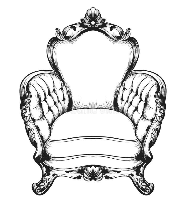 Барочное кресло богачей мебели Королевские decotations стиля Викторианские орнаменты выгравировали Имперское оформление мебели ве бесплатная иллюстрация