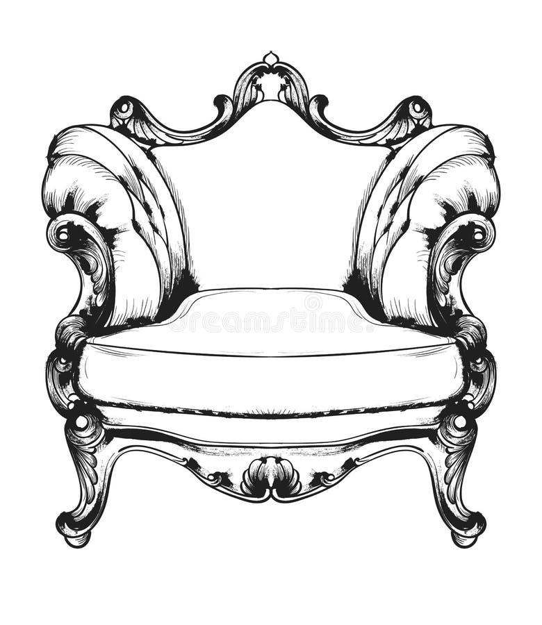 Барочное кресло богачей мебели Королевские decotations стиля Викторианские орнаменты выгравировали Имперское оформление мебели ве иллюстрация штока